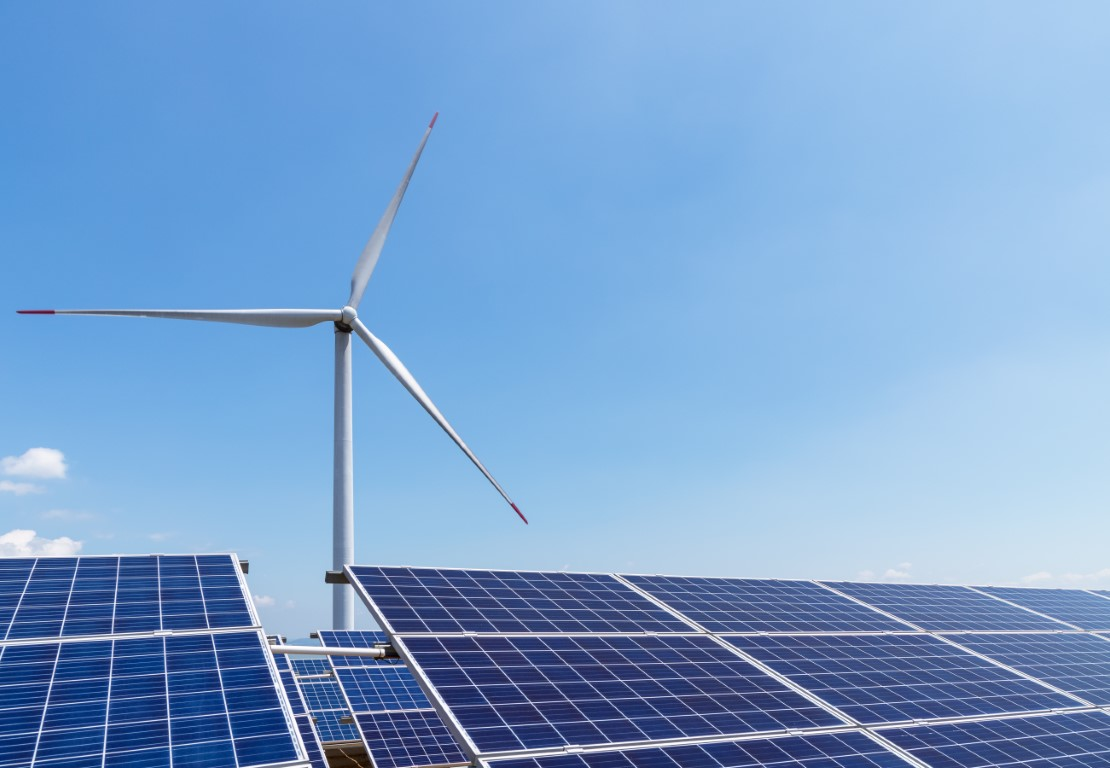 wind turbine and solar panels for clean energy