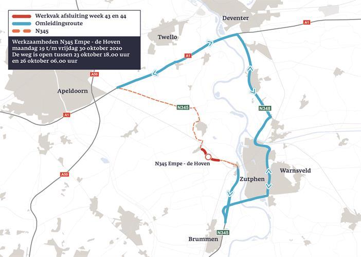 Omleiding: werkzaamheden tussen Zutphen en Voorst